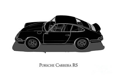 Digital Art - Porsche Carrera Rs - Side View by David Marchal