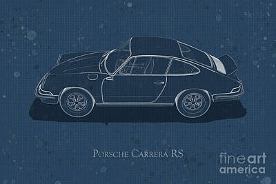 Digital Art - Porsche Carrera Rs - Side View - Stained Blueprint by David Marchal