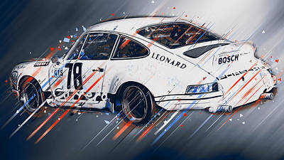 Digital Art - Porsche Carrera Rsr, 1973 - 26 by Andrea Mazzocchetti