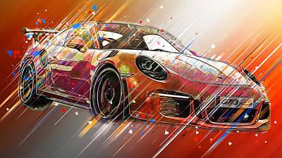 Digital Art - Porsche Gt3 Rs - 44 by Andrea Mazzocchetti