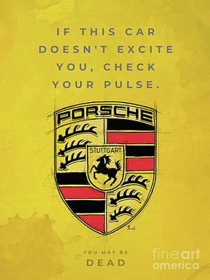 Royalty-Free and Rights-Managed Images - Porsche logo. Original artwork. Porsche quote. by Drawspots Illustrations