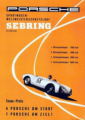 Painting - Porsche Sebring Vintage Racing Poster by Unknown