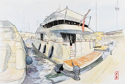 Drawing - Port Adriano by Javier Gonzalez de Castejon