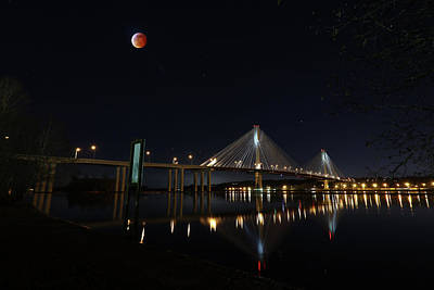 Photograph - Port Mann Bridge With Blood Moon by Hagen Pflueger