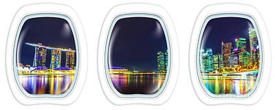 Photograph - Porthole Windows On Singapore By Night by Benny Marty