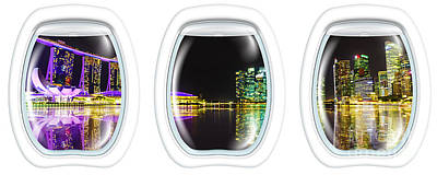 Photograph - Portholes Singapore Night by Benny Marty