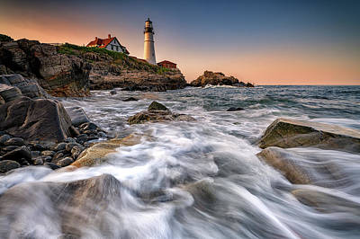 Royalty-Free and Rights-Managed Images - Portland Head Awash by Rick Berk