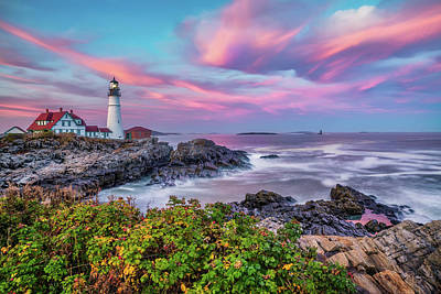 Royalty-Free and Rights-Managed Images - Portland Head Light at Sunset - Cape Elizabeth Maine by Gregory Ballos