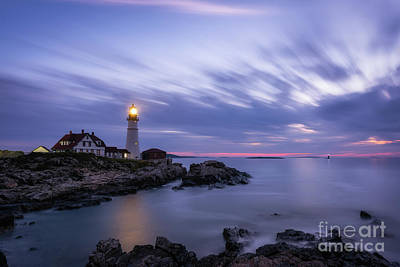 Photograph - Portland Head Light At Twilight  by Michael Ver Sprill
