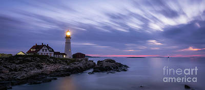 Photograph - Portland Head Light At Twilight Pano by Michael Ver Sprill