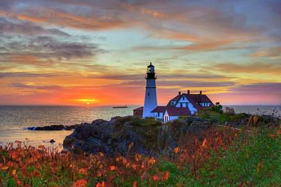 Photograph - Portland Head Lighthouse Sunrise by Joann Vitali