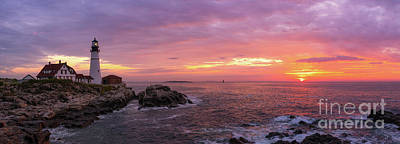 Royalty-Free and Rights-Managed Images - Portland Head Sunrise Pano by Michael Ver Sprill