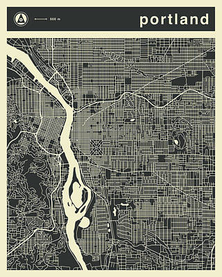 City Map Wall Art - Digital Art - Portland Map 3 by Jazzberry Blue