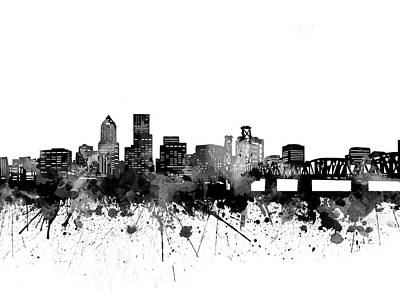 Abstract Skyline Royalty-Free and Rights-Managed Images - Portland Skyline Bw by Bekim M