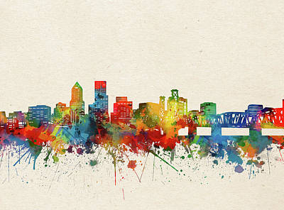 Abstract Skyline Royalty-Free and Rights-Managed Images - Portland Skyline Watercolor by Bekim M