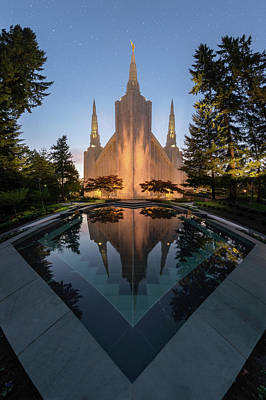 Photograph - Portland Temple Night by Dustin LeFevre