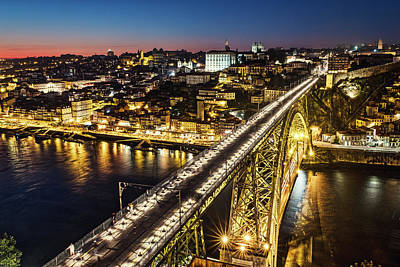 Photograph - Porto Bridge Night - Portugal by Stuart Litoff