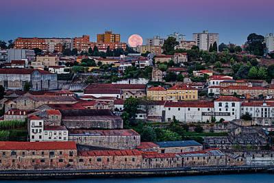 Photograph - Porto Full Moon - Portugal by Stuart Litoff