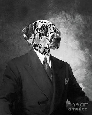 Dalmatian Wall Art - Digital Art - Portrait Of A Dalmatian Dog In A Black Suit by Delphimages Photo Creations