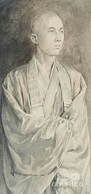Drawing - Portrait Of A Priest At Temple Of Lyemitsu, Nikko, 1888  by John La Farge or Lafarge