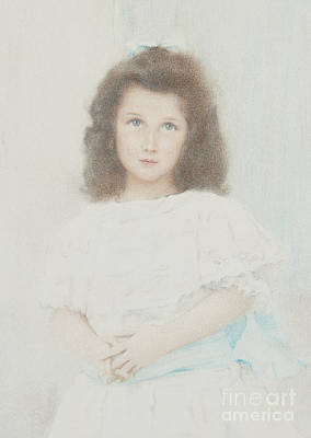 Pastel - Portrait Of A Renee Lambert De Rothschild, Daughter Of The Founder Of The Lambert Bank, 1907 by Fernand Khnopff