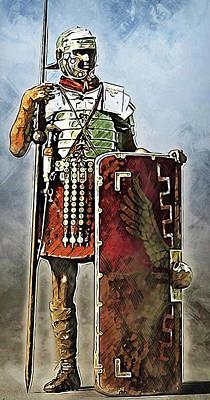 Painting - Portrait Of A Roman Legionary - 40 by Andrea Mazzocchetti