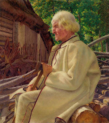 Woodpile Painting - Portrait Of An Old Man by Ivan Zabota