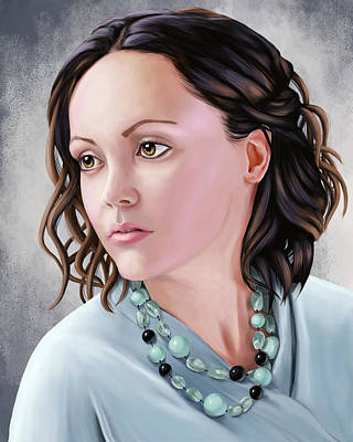 Drawing - Portrait Of Christina Ricci by Sami Matilainen