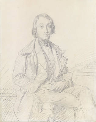 Drawing - Portrait Of Felix Ravaisson by Theodore Chasseriau