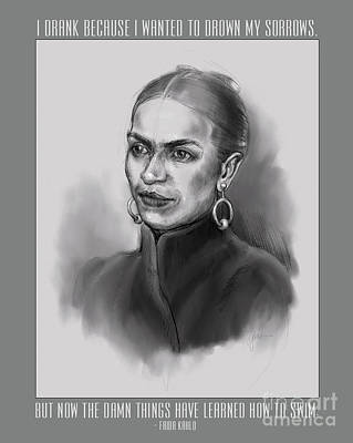 Drawing - Portrait Of Frida Kahlo by Lora Serra