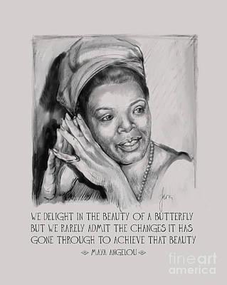 Painting - Portrait Of Maya Angelou by Lora Serra