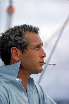 Photograph - Portrait Of Paul Newman Smoking by Mark Kauffman