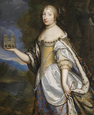 Low-country Artwork Painting - Portrait Of Queen Marie Therese Of France As Patron Saint Of The Cathedral Of Notre - Dame De Paris by Charles Beaubrun