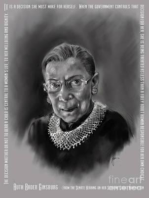 Mixed Media - Portrait Of Ruth Bader Ginsburg by Lora Serra