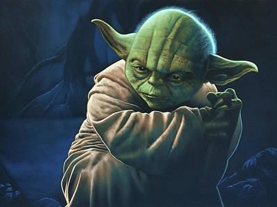 Portrait Of Yoda Of Star Wars In Swamp  #r044 Original