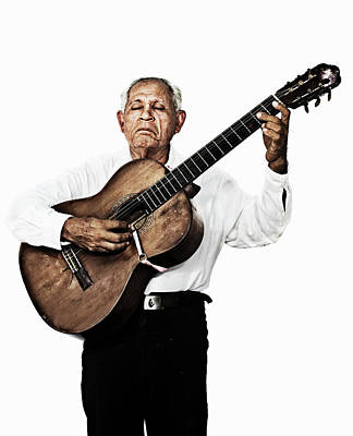 Photograph - Portraits Of An Old Man Playing Guitar by Peter Boel Nielsen