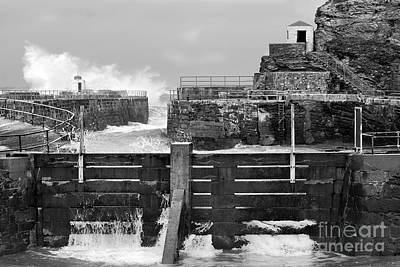 Photograph - Portreath Harbour In Monochrome by Terri Waters