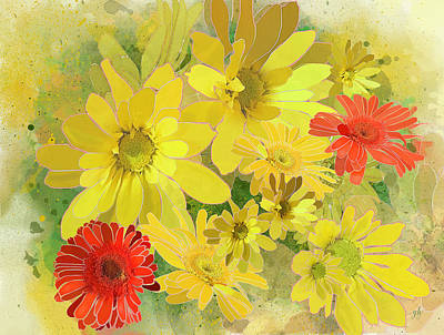 Digital Art - Posies by Gina Harrison