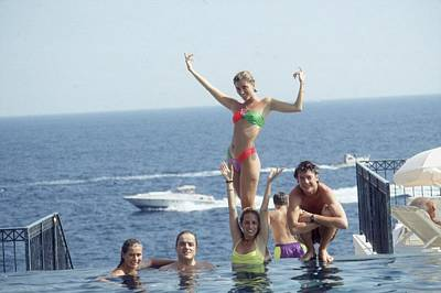 Young Adult Photograph - Posing At Cap Ferrat by Slim Aarons
