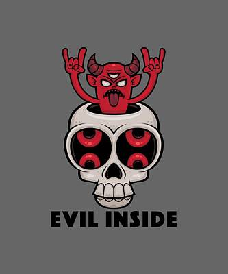 Royalty-Free and Rights-Managed Images - Possessed Skull Evil Inside by John Schwegel