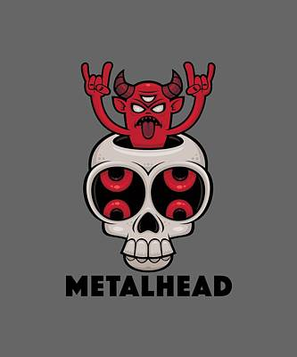 Royalty-Free and Rights-Managed Images - Possessed Skull Metalhead by John Schwegel