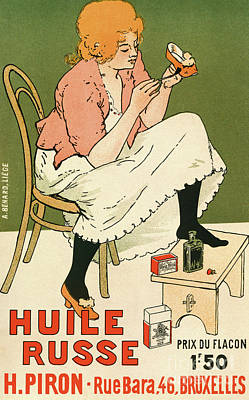 Painting - Poster Advertising Huile Russe Shoe Protector, 1896 by Armand Rassenfosse