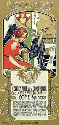 Drawing - Poster Advertising The Centenary Of The Discovery Of The Voltaic Pile, 1899 by Adolfo Hohenstein