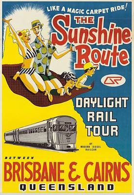Painting - Poster - Daylight Rail Tours Between Brisbane And Cairns, C 1976 by Celestial Images