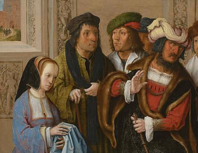 Painting - Potiphar's Wife Displays Joseph's Garment by Lucas van Leyden
