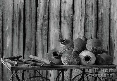 Winter Animals Rights Managed Images - Pots Still Life BW Royalty-Free Image by Eddie Barron