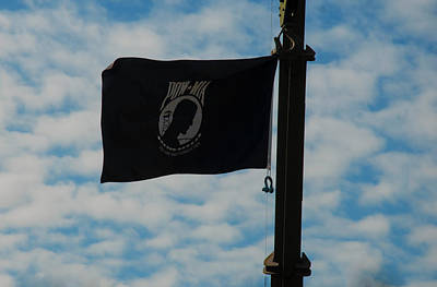 Photograph - Pow-mia Flag Flying In With Breeze by Chris Flees