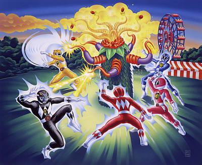 Comics Royalty-Free and Rights-Managed Images - Power Rangers Art by Garth Glazier