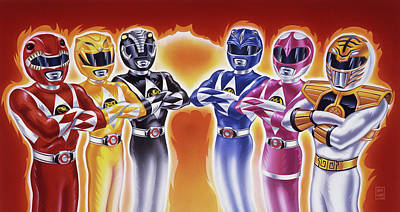 Comics Royalty-Free and Rights-Managed Images - Power Rangers Heroes Art by Garth Glazier