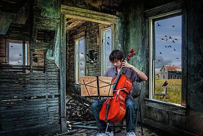 Photograph - Practicing Among The Ruins. A Cello Player Playing Music by Randall Nyhof